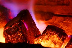Burning brown coal Royalty Free Stock Photos
