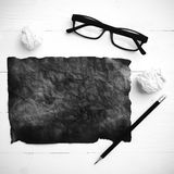 Burning brown paper and crumpled paper black and white tone colo Stock Images