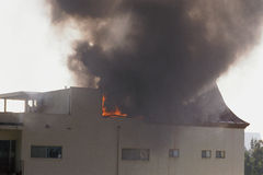 Burning building Royalty Free Stock Photo