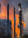 Burning Building. Color image of a burning building Stock Photo