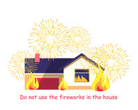 Burning Building with Fireworks Isolated on White. Do not use fireworks in the house. Burning building isolated on white background. House consists of dwelling Royalty Free Stock Images