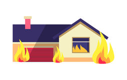 Burning Building Isolated on White Background. House consists of dwelling place and one garage in terrible situation. Vector cartoon illustration of Stock Photography