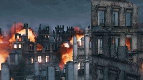 Burning building ruins of destroyed after war city 4K