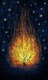 Burning bush. Abstract digital painting. Impressionism style. Burning bush in the dark universe royalty free illustration
