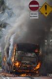 burning busway jakarta Arkivfoto