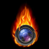 Burning the camera lens Stock Images