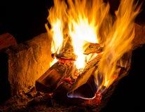 Burning campfire. Burning at night stock photo