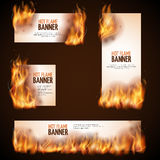 Burning campfire with hot flame vector banners. Paper advertising burn, fire hot advertising illustration Stock Image