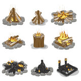 Burning Campfire Logs Collection Isolated on White. Vector poster of wood pieces with fire put in various positions with and without grey stones. Touristic Royalty Free Stock Photos