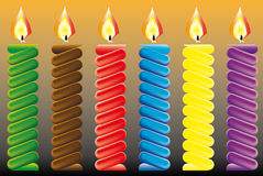 Burning candle. Birthday candles, candles and streamer. Place on your cake Stock Photo