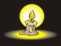 Burning candle. Melting wax, vector illustration Royalty Free Stock Photo