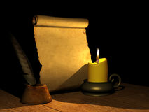 Burning candle and the ancient manuscript Royalty Free Stock Images