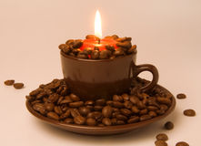 Free Burning Candle And Coffee Beans Royalty Free Stock Image - 28463486