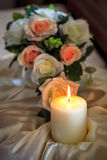 Burning Candle on Banquet Table Royalty Free Stock Photo