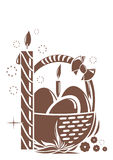 Burning candle and basket with Easter eggs. Easter design Stock Image
