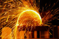 Spark spray. From grinder cutting metal Royalty Free Stock Photography
