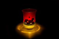 Burning candle in bra Royalty Free Stock Photo