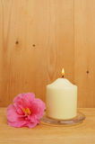 Burning candle and camellia flower Stock Photos