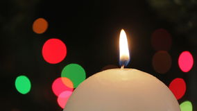 Burning Candle. Christmas decorations. stock footage