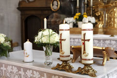 Burning candle at the communion Royalty Free Stock Photos