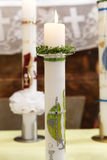 Burning candle at the communion Stock Images