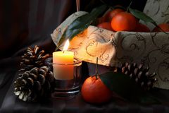 Burning candle and cones Stock Images