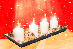 Burning candle in festive christmas Stock Photography