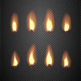 Burning candle flame animation vector frames. Burning wick isolated on checkered background illustration Stock Photos
