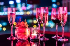 Burning candle in glass cup Stock Images