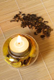 Burning candle and green tea. Burning scented candle witn dried flowers and green tea on wood mat Royalty Free Stock Photo