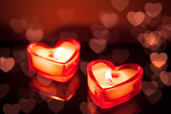Burning candle hearts Stock Photography