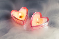 Burning candle hearts Royalty Free Stock Photos