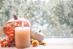 Burning candle, Hokkaido pumpkin and Fall decorations on a windo Stock Image