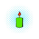Burning candle icon, comics style Royalty Free Stock Photo