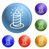 Burning candle icons set vector royalty free illustration