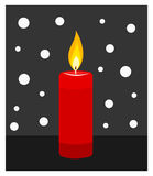 Burning candle illustration. Red candle burning in darkness. Vector illustration Stock Photos