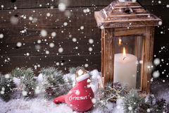Burning candle  in lantern, christmas bird and branches fur tree Royalty Free Stock Photography