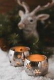 Burning candle lanterns Stock Photography