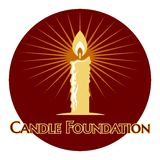 Burning candle logo. With rays of light on a round brown icon with the words - Candle Foundation - below  vector illustration on white Royalty Free Stock Photos