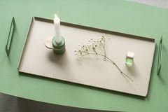 Candlestick on metal tray Royalty Free Stock Image