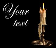 Burning Candle In Old Silver Candlestick Isolated Royalty Free Stock Images