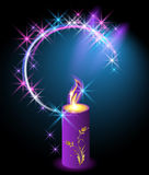 Burning candle with an ornament Royalty Free Stock Image