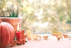 Burning candle, pumpkin, heather and Fall decorations on a windo Stock Photo