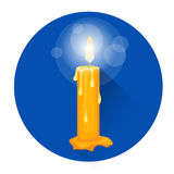 Burning Candle Religion Halloween Holiday Icon. Flat Vector Illustration Royalty Free Stock Photo