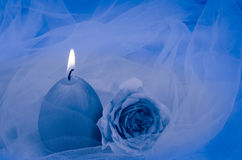 Burning candle and rose Stock Photos