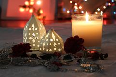 Candles and lights for romantic concept royalty free stock images