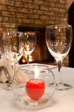 Burning candle on the served table Royalty Free Stock Image
