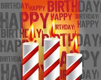 Burning candle and shadow. On gray background Royalty Free Stock Photography