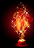 Burning candle with smoke. Burning red candle with smoke and stars Stock Photos
