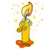 Burning candle vector. Burning candle hand drawn. Royalty Free Stock Images